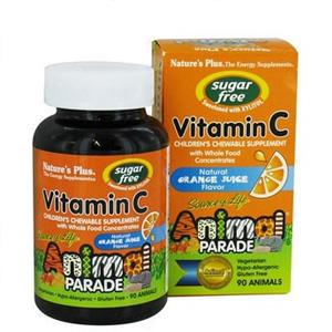 Nature's Plus 动物造型儿童维生素C咀嚼片 天然橙味 90片