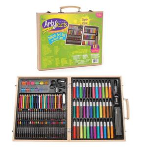 Darice 木盒便携式美术绘画工具 131件豪华版