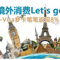 浦发Visa梦卡/Master梦卡境外海淘消费笔笔返现8%继续