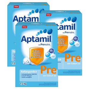 又便宜啦!Aptamil 爱他美婴幼儿配方奶粉 Pre段(适合0-3个月宝宝)大盒装1.2Kg*3