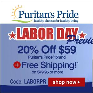 Labor Day促销!Puritan's Pride自营保健品买1送2/买2送4