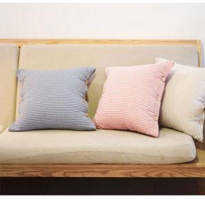 日式色织水洗条纹抱枕