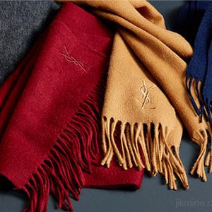 Y S L 圣罗兰 意大利产纯羊毛围巾 多色