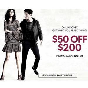 Neiman Marcus现有全场大部分正价商品满$200减$50