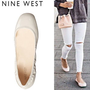 Nine West 玖熙 女士 圆头糖果色平底鞋卡其色