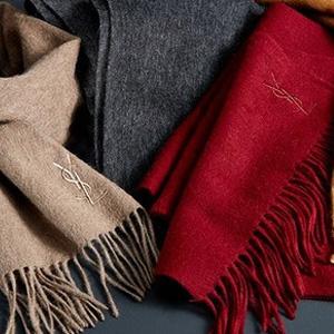 YSL含羊绒混纺围巾多色
