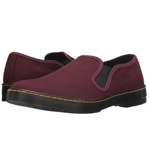 Dr. Martens男士帆布一脚蹬鞋 酒红色