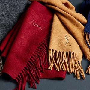 YSL羊毛羊绒混纺围巾多色