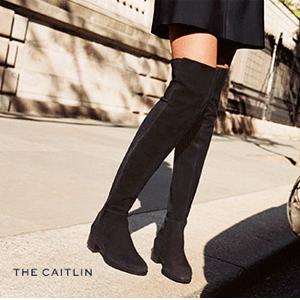 Tory Burch Caitlin 女士黑色麂皮过膝靴