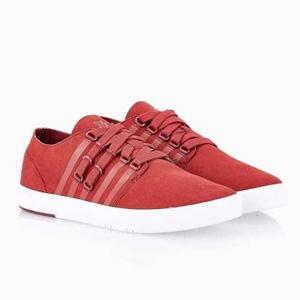 明星同款!K-Swiss男士真皮红色休闲板鞋