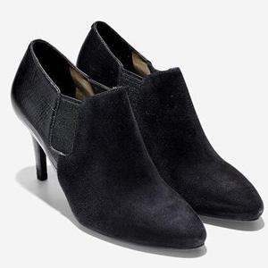 Cole Haan可汗 女士真皮高跟短靴 黑色