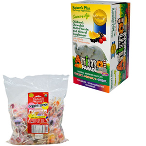 Nature's Plus 儿童综合维生素矿物质咀嚼片180粒 +YumEarth天然有机棒棒糖什锦水果口味5磅装