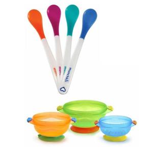 Munchkin满趣健餐具套装(感温安全勺4支装+吸盘碗3个 )*3件