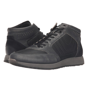 ECCO爱步 男士高帮真皮休闲运动鞋