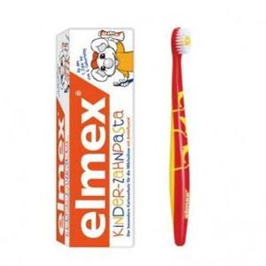 凑单品!Elmex易学 乳牙牙刷+婴幼儿可吞咽牙膏 50ml