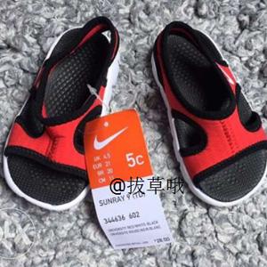 Nike Kids Sunray 9 小童款凉鞋 红黑配色