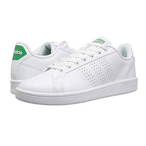 补码!Adidas阿迪达斯Cloudfoam男士经典小白鞋 绿尾
