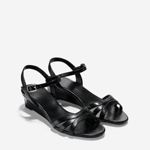 Cole Haan可汗 女士真皮坡跟凉鞋 黑色