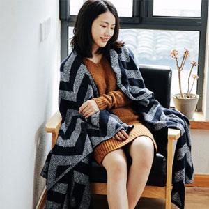 网易严选 纯棉简欧条纹针织盖毯 2色