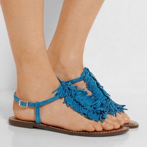 Sam Edelman Gela女士真皮 平底夹趾凉鞋