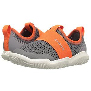 限尺码!17新款Crocs卡洛驰 小童款网面运动鞋 灰橙色