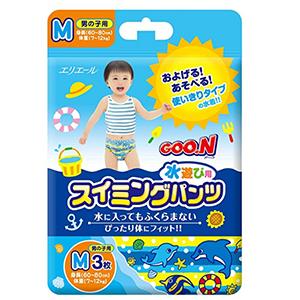日本大王男宝宝游泳纸尿裤M3片装