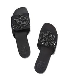 Tory Burch Delphine女士真皮水晶平底凉拖鞋