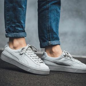 PUMA Basket 灰色麂皮厚底运动鞋