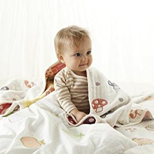 Hoppetta 6重纱 婴幼儿蘑菇印花盖毯 5241
