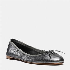 COACH蔻驰Flatiron女款银色平底鞋