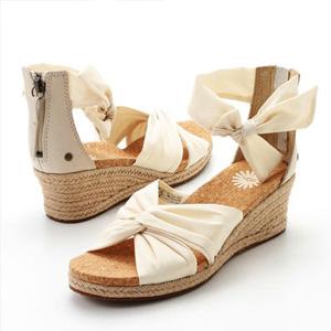 限38/39码!UGG 女士Starla真皮坡跟凉鞋 白色