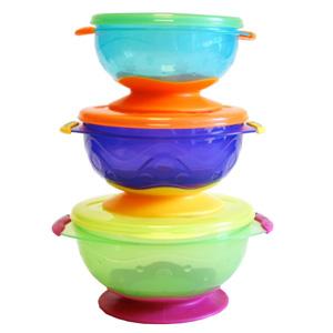 凑单品!Nuby努比 带盖吸盘碗三件套