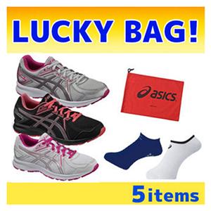 福袋5件套:Asics 亚瑟士JOG100 2 TJG139女款慢跑鞋2双+运动袜2双+鞋袋