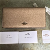 COACH蔻驰Colorblock Slim Wallet女士真皮钱包 裸色款
