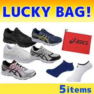 福袋5件套:Asics亚瑟士JOG100 2 TJG138跑步鞋2双+运动袜2双+鞋袋