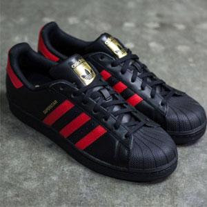 Adidas Superstar 大童黑红金标贝壳头