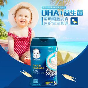 新包装!Gerber嘉宝 DHA+益生菌大米米粉1段 227g