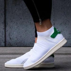 Adidas阿迪达斯Stan Smith Sock Primeknit袜套女士绿尾板鞋