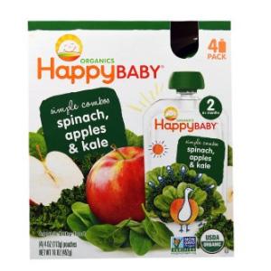 今日特惠!Happy Baby禧贝有机水果蔬菜泥 2段(6个月以上) 4包装