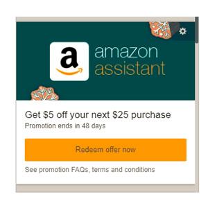 更新!安装亚马逊浏览器插件免费得$25-5优惠券