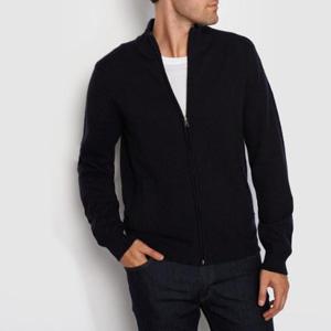 R essentiel男士100%羊羔毛小高领拉链开衫