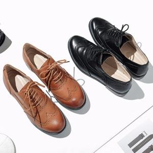网易严选 女式真皮英伦布洛克系带鞋 两色可选