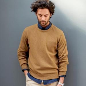 R essentiel 男士100%羊羔毛圆领毛衣