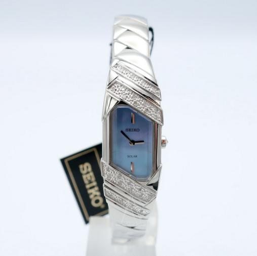 Seiko精工 SUP331 珍珠贝镶钻太阳能女表