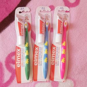 凑单品!Elmex易学 儿童0-3岁乳牙牙刷+氟化铵可吞咽牙膏 12ml组合装