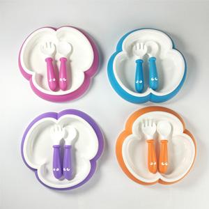 BABYBJORN 防滑打翻宝宝餐盘+汤匙+叉子*2套装 两色