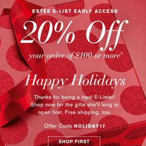 Estee Lauder美国官网双十二全场额外8折+正装赠品更新