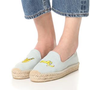 Soludos 女款刺绣香蕉草编鞋