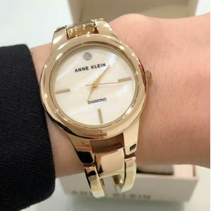 Anne Klein安妮·克莱因 AK-2628CHGB 香槟金镶钻女士腕表