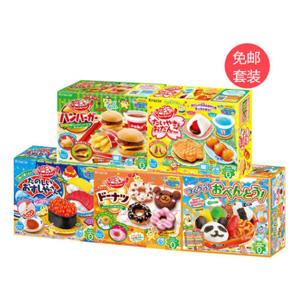 Kracie DIY食玩儿童糖果5盒装(甜甜圈版+汉堡包版+鲷鱼烧&关东煮+熊猫饭团便当+寿司)